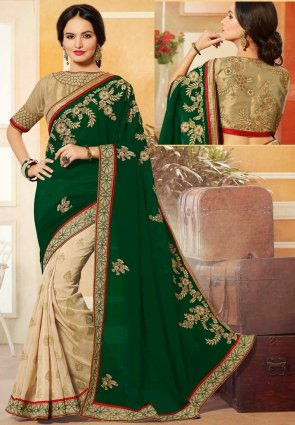 Diffusion Gorgeous Beige And Green Embroidered Saree