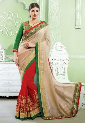 Diffusion Gorgeous Beige And Red Embroidered Saree