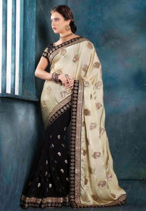 Diffusion Gorgeous Black And Buttercream Embroidered Saree