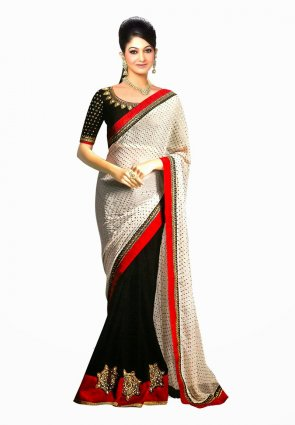Diffusion Gorgeous Black And Off White Embroidered Saree