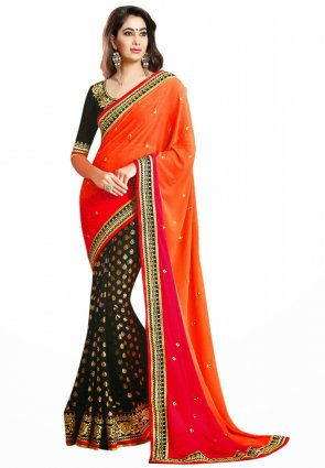 Diffusion Gorgeous Black And Pink Embroidered Saree