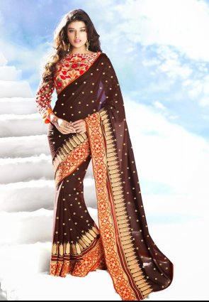 Diffusion Gorgeous Brown Embroidered Saree