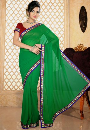 Diffusion Gorgeous Green Printed Saree