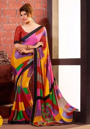 Diffusion Gorgeous Lavender And Orange Printed Saree