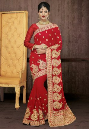 Diffusion Gorgeous Maroon Embroidered Saree