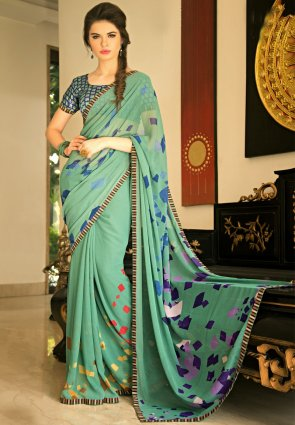 Diffusion Gorgeous Mint Green Printed Saree