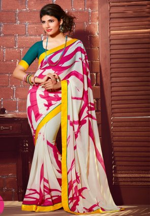 Diffusion Gorgeous Off White Printed Saree
