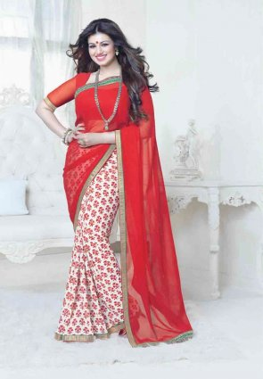 Diffusion Gorgeous Off White And Red Embroidered Saree