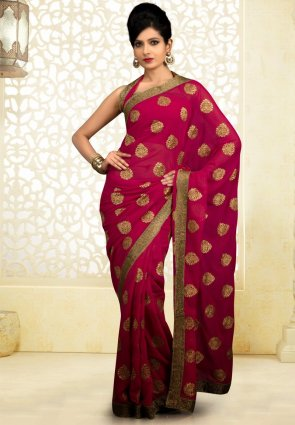 Diffusion Gorgeous Wine Embroidered Saree