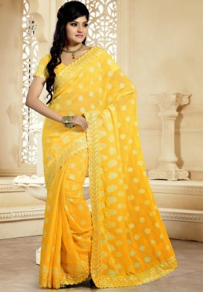 Diffusion Gorgeous Yellow Embroidered Saree