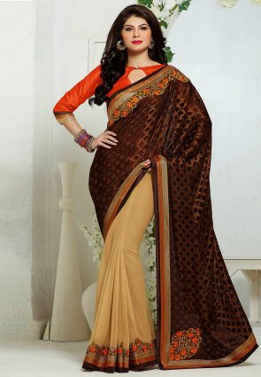 Diffusion Luscious Beige And Saddle Brown Embroidered Saree