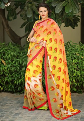 Diffusion Luscious Beige And Yellow Printed Saree