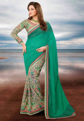 Diffusion Luscious Buttercream And Emerald Green Embroidered Saree