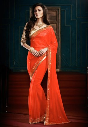Diffusion Luscious Coral Embroidered Saree