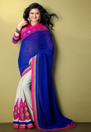 Diffusion Luscious Deep Off White And Blue Embroidered Saree