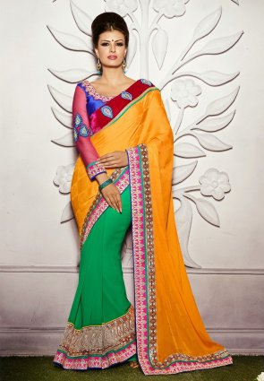 Diffusion Luscious Green  And  Orange Embroidered Saree