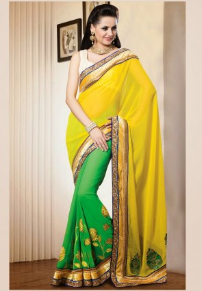Diffusion Luscious Green And Yellow Embroidered Saree