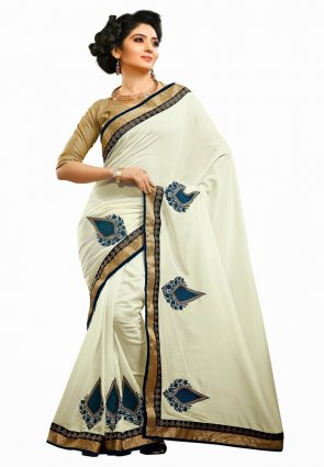 Diffusion Luscious Off White Embroidered Saree