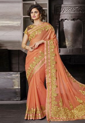 Diffusion Luscious Peach Puff Embroidered Saree