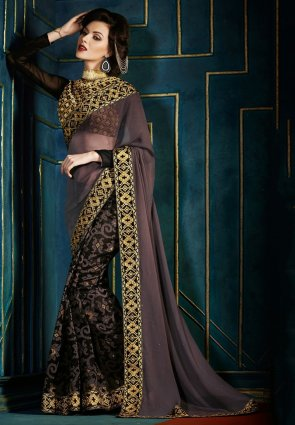 Diffusion Luscious Rosy Brown Embroidered Saree