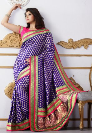 Diffusion Luscious Royal Blue Embroidered Saree