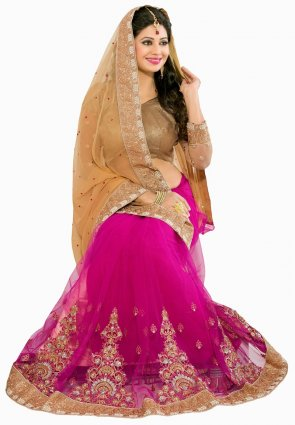 Diffusion Lush Beige And Pink Embroidered Saree