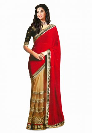Diffusion Lush Beige And Red Embroidered Saree