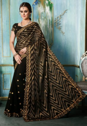 Diffusion Lush Black Embroidered Saree