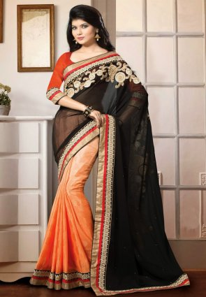 Diffusion Lush Black And Peach Puff Embroidered Saree