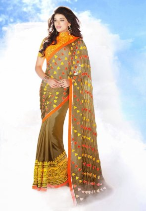 Diffusion Lush Brown Embroidered Saree
