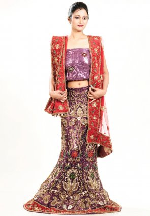 Diffusion Lush Coral And Pink Chaniya Choli