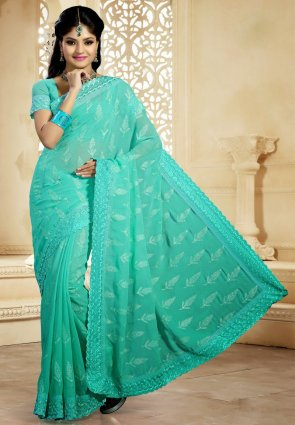 Diffusion Lush Greenish Blue Embroidered Saree