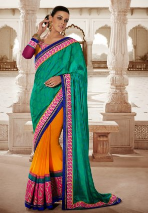 Diffusion Lush Jade Green  And  Orange Embroidered Saree