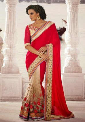 Diffusion Magnificient Beige  And  Red Embroidered Saree