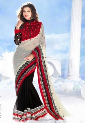 Diffusion Magnificient Black And Off White Embroidered Saree