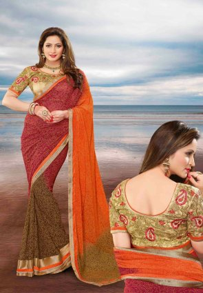 Diffusion Magnificient Brick Red And Deep Orange Embroidered Saree