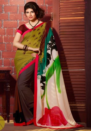 Diffusion Magnificient Brown And Olive Green Printed Saree