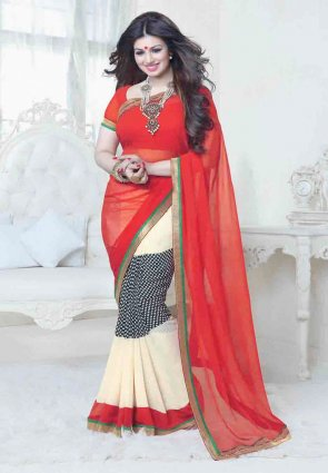 Diffusion Magnificient Buttercream And Red Embroidered Saree