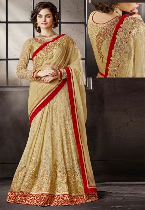 Diffusion Magnificient Cream Embroidered Saree
