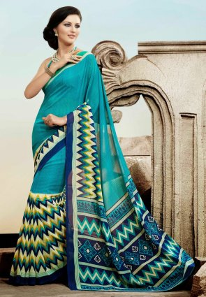 Diffusion Magnificient Cyan Blue And Royal Blue Printed Saree