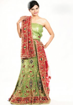 Diffusion Magnificient Honeydew Chaniya Choli