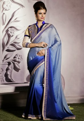 Diffusion Magnificient Navy Blue  And  Silver Embroidered Saree