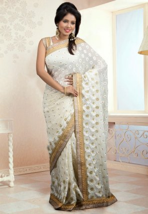 Diffusion Magnificient Off White Embroidered Saree