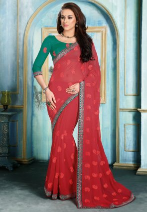 Diffusion Magnificient Red Embroidered Saree