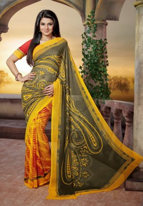 Diffusion Majesty Ash Gray And Yellow Embroidered Saree