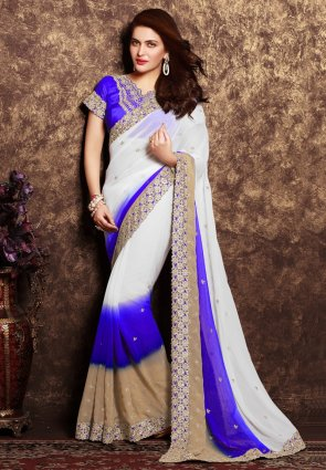 Diffusion Majesty Beige And Off White Embroidered Saree
