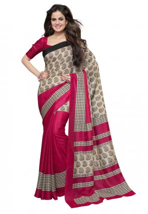 Diffusion Majesty Beige And Pink Printed Saree