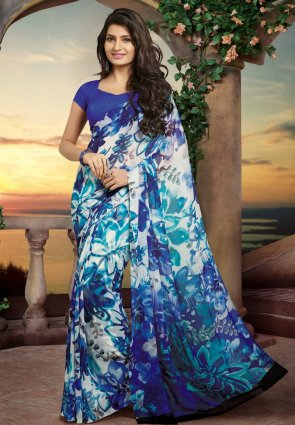 Diffusion Majesty Blue And Off White Embroidered Saree