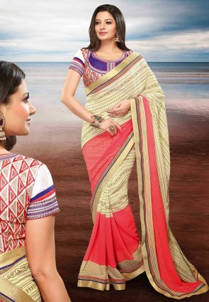 Diffusion Majesty Buttercream And Salmon Embroidered Saree
