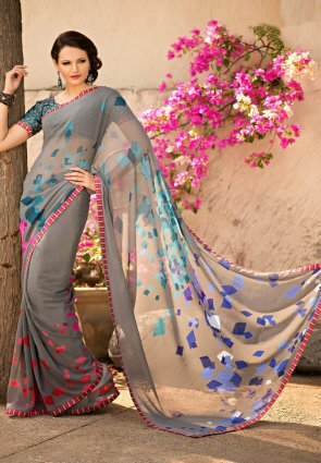 Diffusion Majesty Gray Printed Saree